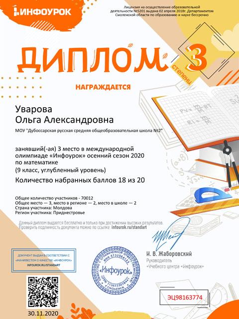 диплом Уварова
